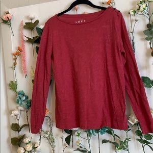Ann Taylor Loft Long Sleeves Red T-shirt
